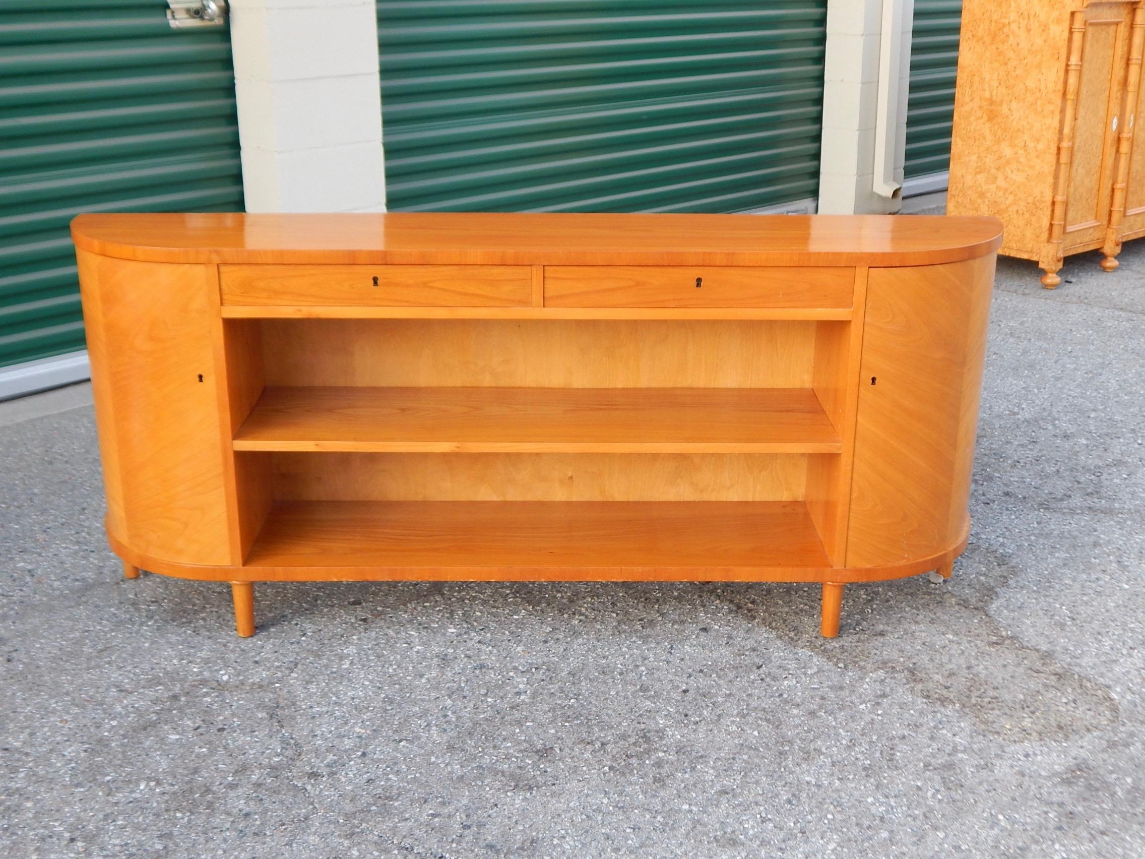 Swedish Art Moderne Book Case/Cabinet In Golden Elm, Circa 1940