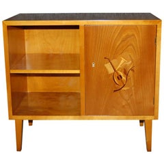 Vintage Swedish Art Moderne Intarsia Cabinet End Table