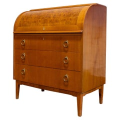 Swedish Art Moderne Roll-Top Writing Desk in Elm with Burl Elm Accents