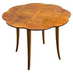 Swedish Art Moderne Scalloped Carpathian Elm Round End Table