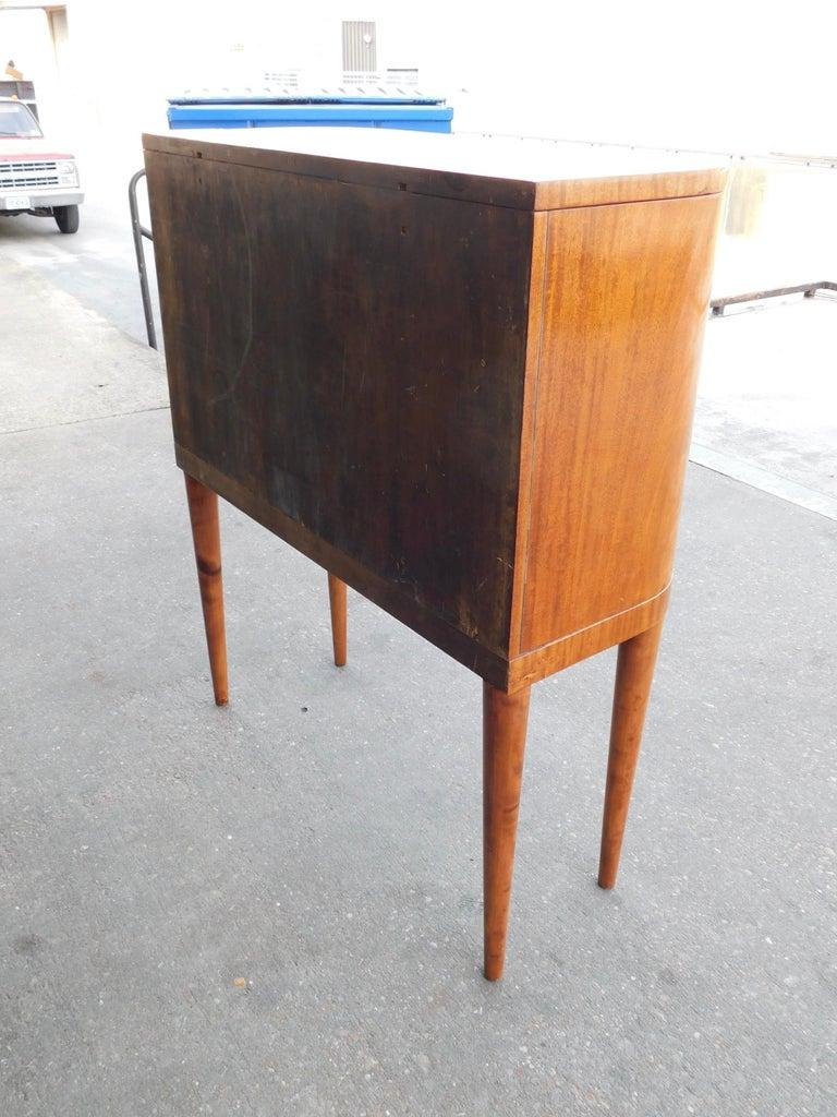 Swedish Art Moderne Secretary Desk and Dry Bar in Honduran Mahogany, circa 1940 For Sale 6