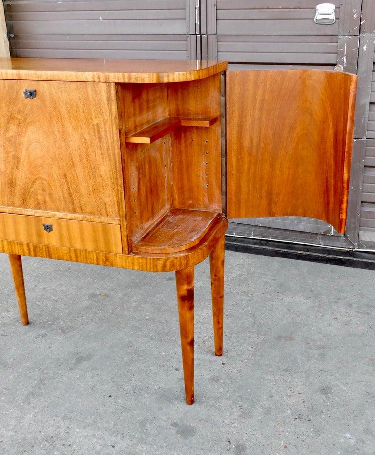 Swedish Art Moderne Secretary Desk and Dry Bar in Honduran Mahogany, circa 1940 For Sale 1