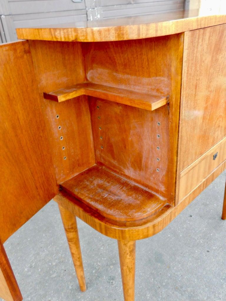 Swedish Art Moderne Secretary Desk and Dry Bar in Honduran Mahogany, circa 1940 For Sale 4
