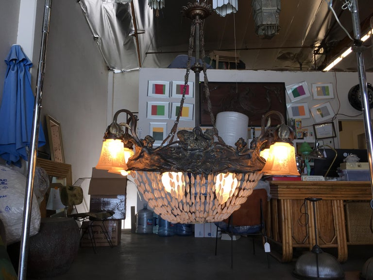 Swedish Art Nouveau Beaded Crystal Basket Form Bronze Chandelier In Excellent Condition For Sale In Van Nuys, CA