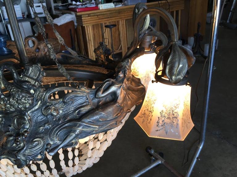 Metal Swedish Art Nouveau Beaded Crystal Basket Form Bronze Chandelier For Sale