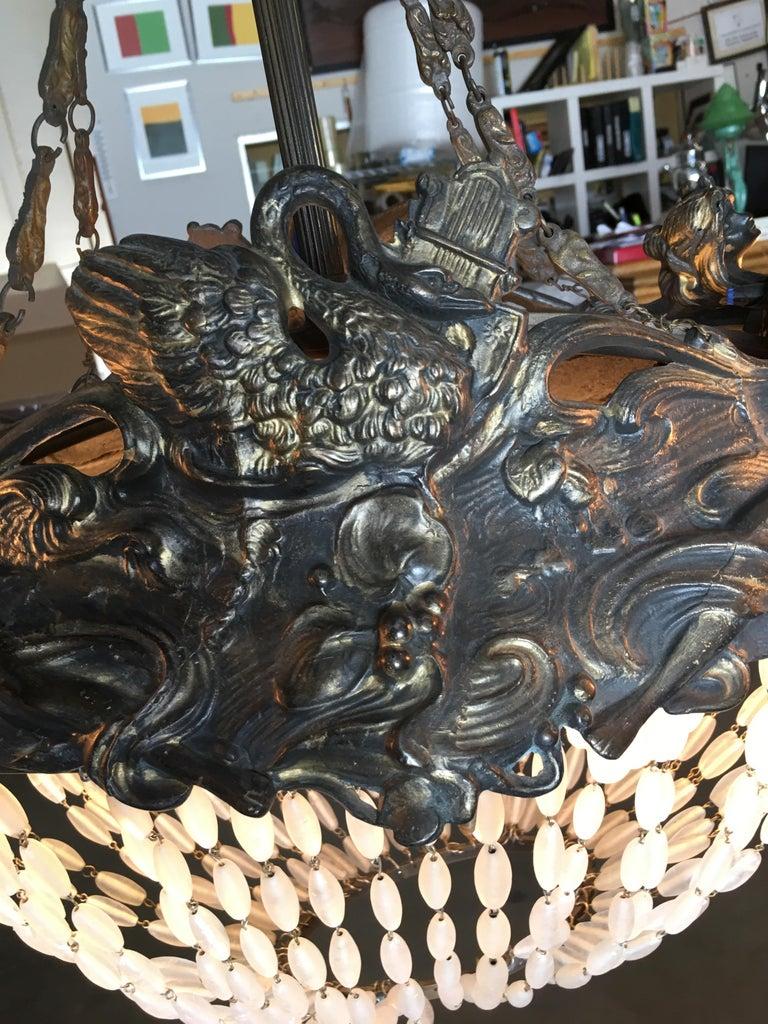 Swedish Art Nouveau Beaded Crystal Basket Form Bronze Chandelier For Sale 3