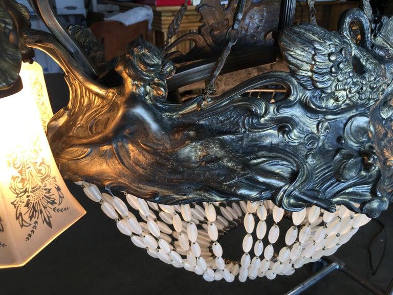 Swedish Art Nouveau Beaded Crystal Basket Form Bronze Chandelier For Sale 4