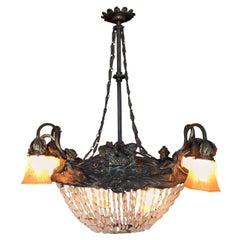 Swedish Art Nouveau Beaded Crystal Basket Form Bronze Chandelier
