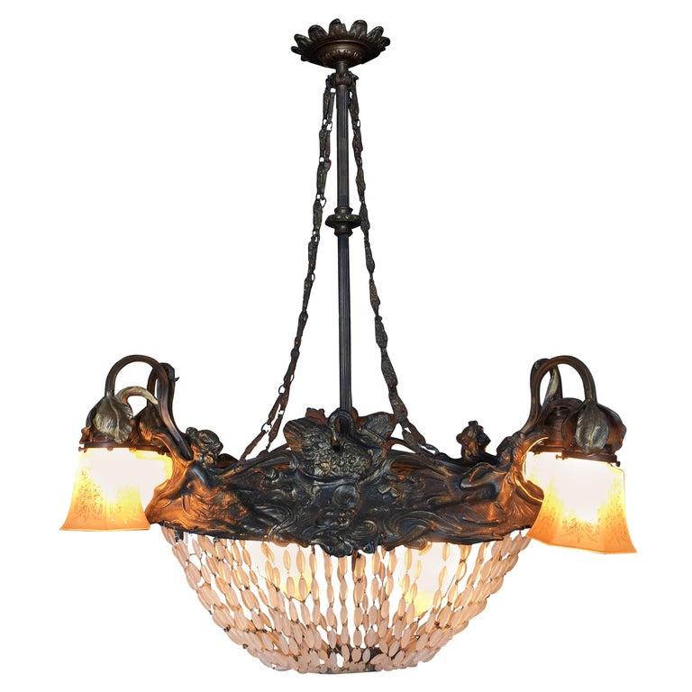 Swedish Art Nouveau Beaded Crystal Basket Form Bronze Chandelier For Sale
