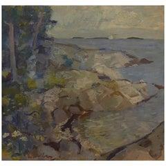 Swedish Artist, Modernist Landscape, Oil on Cardboard, 1960s
