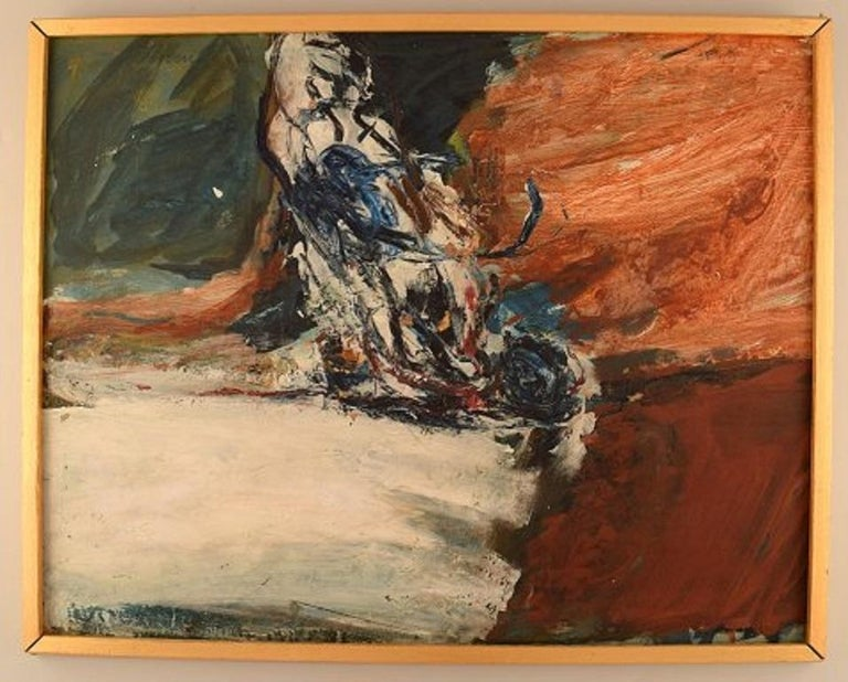 Swedish artist. Oil on board. Modernist landscape, 1960s. The board measures: 58 x 46 cm. The frame measures: 2 cm. Signed. In very good condition, 20th century Scandinavian Mid-Century Modern.