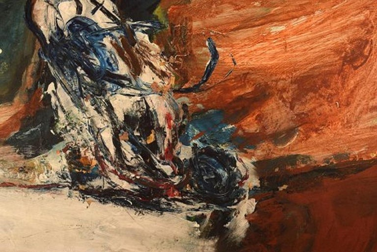 Scandinavian Modern Swedish Artist, Oil on Board, Modernist Landscape, 1960s For Sale