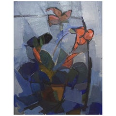 Swedish Artist, Oil on Canvas, Large Still Life with Flowers, 1960s