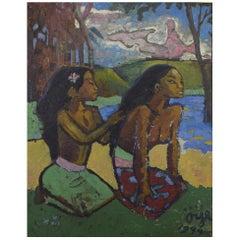Swedish Artist, Paul Gauguin Style, Tahiti Women Traditionally Dressed