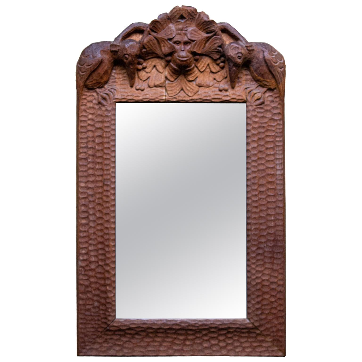 Swedish Arts & Crafts Hand Carved Oak Mirror with Monkey and Birds