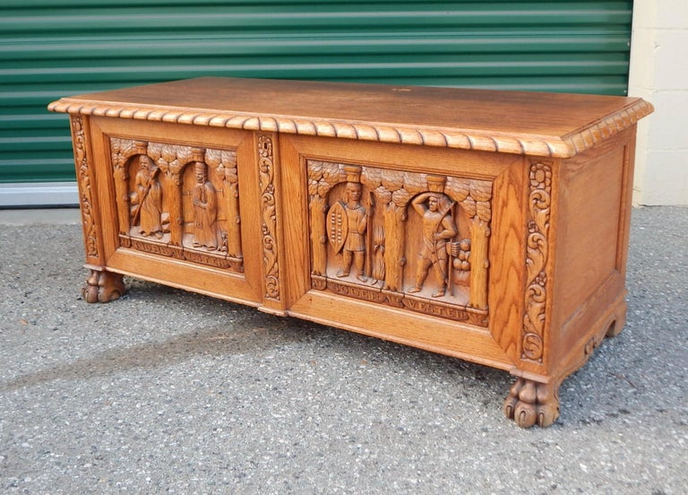 Swedish Arts & Crafts / neo-Gothic hand-carved chest in solid oakwood.