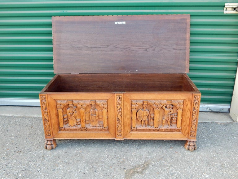 Arts and Crafts Swedish Arts & Crafts, Neo Gothic Hand-Carved Chest in Oak, circa 1920 For Sale
