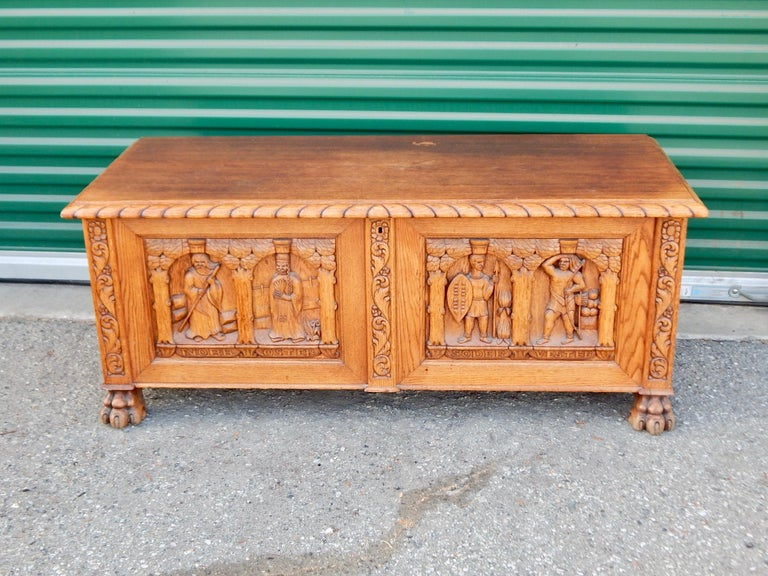 Swedish Arts & Crafts, Neo Gothic Hand-Carved Chest in Oak, circa 1920 For Sale 1