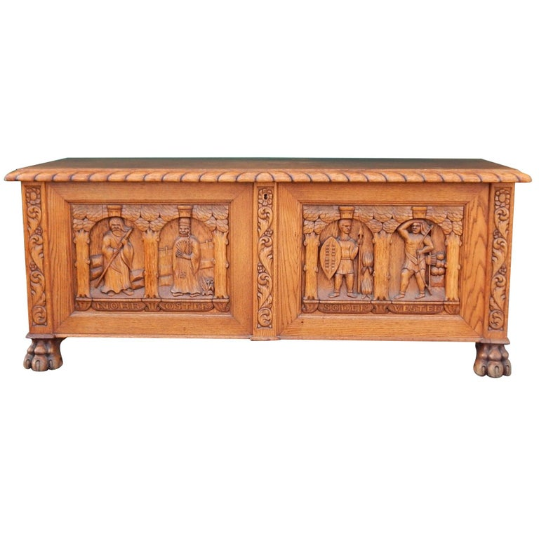 Swedish Arts & Crafts, Neo Gothic Hand-Carved Chest in Oak, circa 1920 For Sale