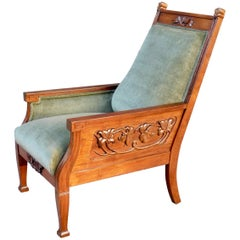 Swedish Arts & Crafts Paneled Chair with Carved Flora Motifs, circa 1900