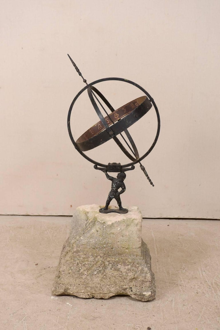 Swedish Atlas Armillary Sundial Mounted on Hand-Carved Antique Stone Plinth For Sale 6