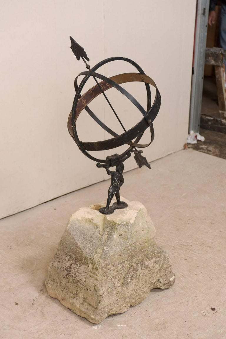 Swedish Atlas Armillary Sundial Mounted on Hand-Carved Antique Stone Plinth In Good Condition For Sale In Atlanta, GA