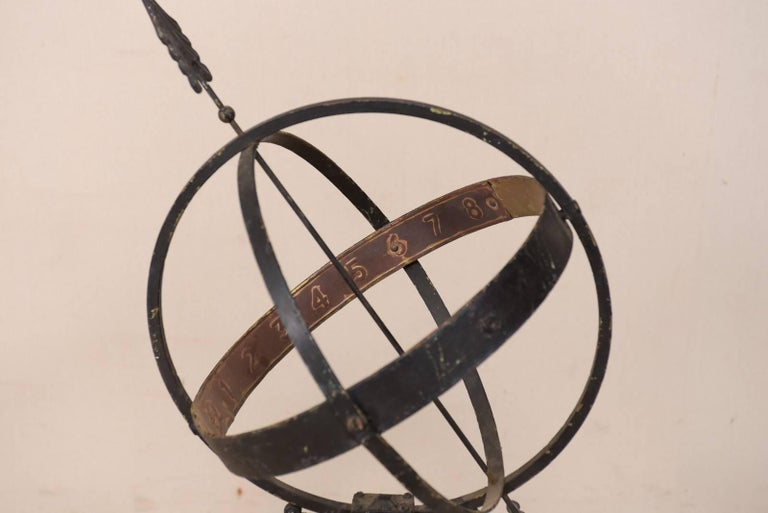 Metal Swedish Atlas Armillary Sundial Mounted on Hand-Carved Antique Stone Plinth For Sale