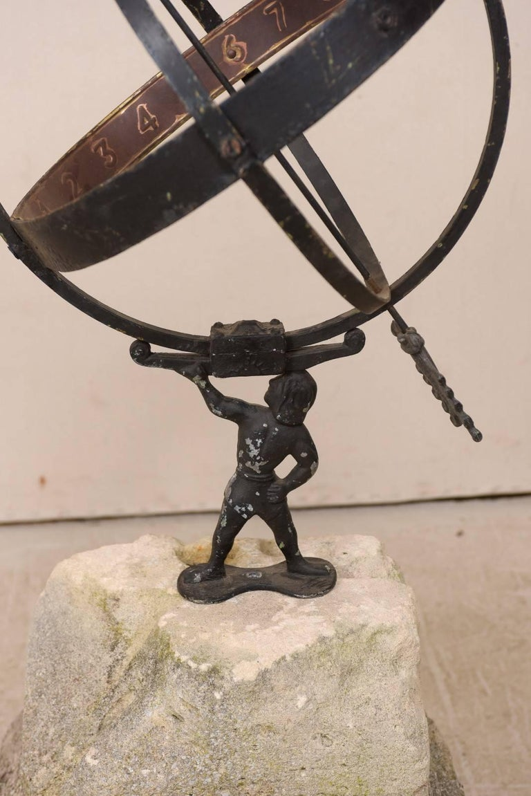 Swedish Atlas Armillary Sundial Mounted on Hand-Carved Antique Stone Plinth For Sale 2