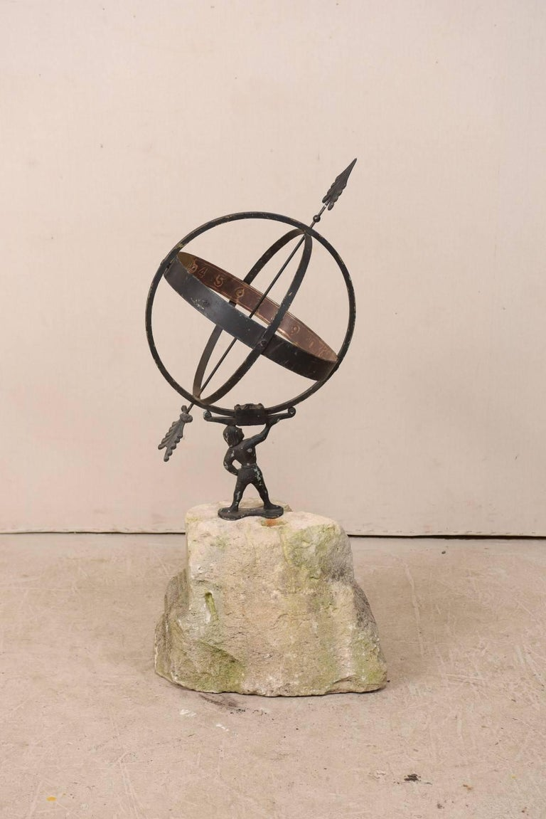 Swedish Atlas Armillary Sundial Mounted on Hand-Carved Antique Stone Plinth For Sale 3