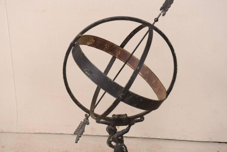 Swedish Atlas Armillary Sundial Mounted on Hand-Carved Antique Stone Plinth For Sale 4
