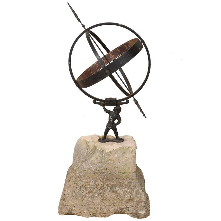 Swedish Atlas Armillary Sundial Mounted on Hand-Carved Antique Stone Plinth For Sale