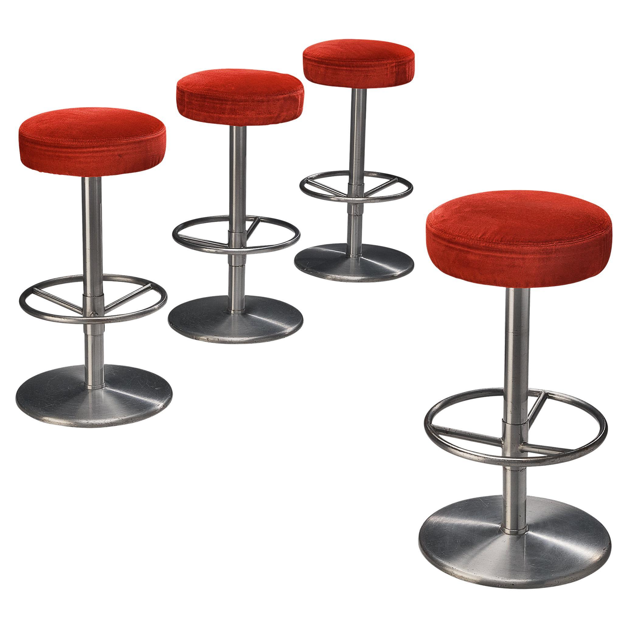 Swedish Bar Stools in Metal and Red Velvet
