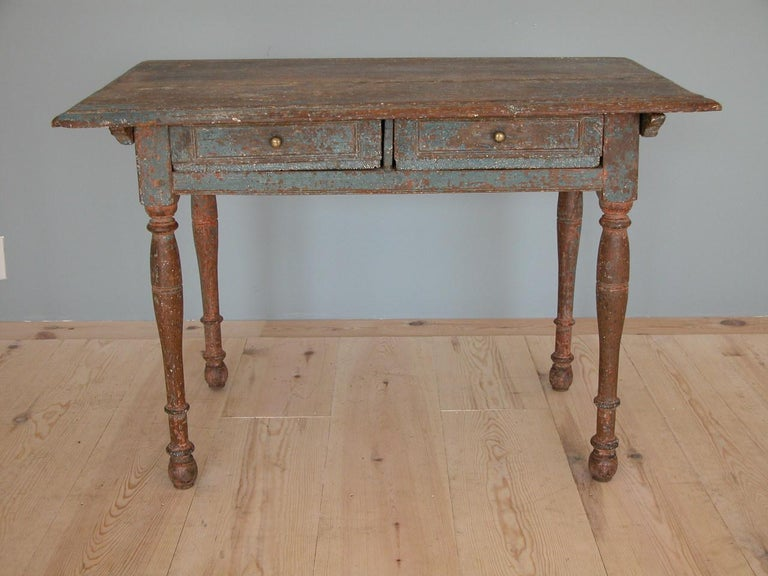 Swedish Baroque Allmoge Table With Two Drawers Circa 1750