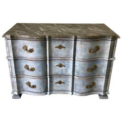 Swedish Baroque Chest with Faux Marble-Top and Serpentine Drawers