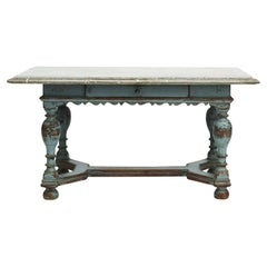 Swedish Baroque Table with Fossil Limestone Top