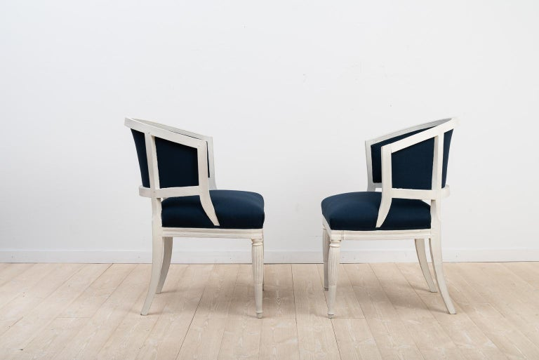 Gustavian Swedish Barrel Back Chairs from the Early 19th Century For Sale