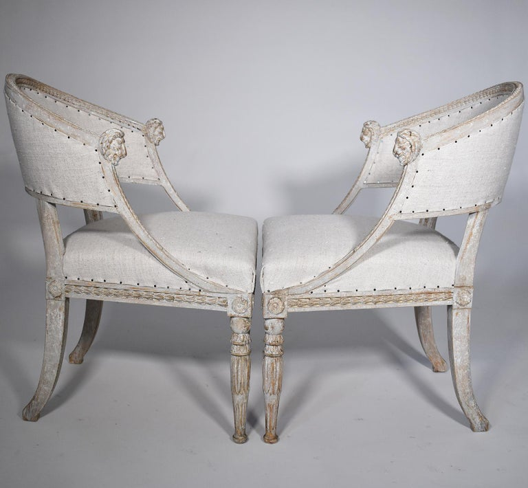 Gustavian Pair of 19th Century Swedish Barrel Back Chairs For Sale