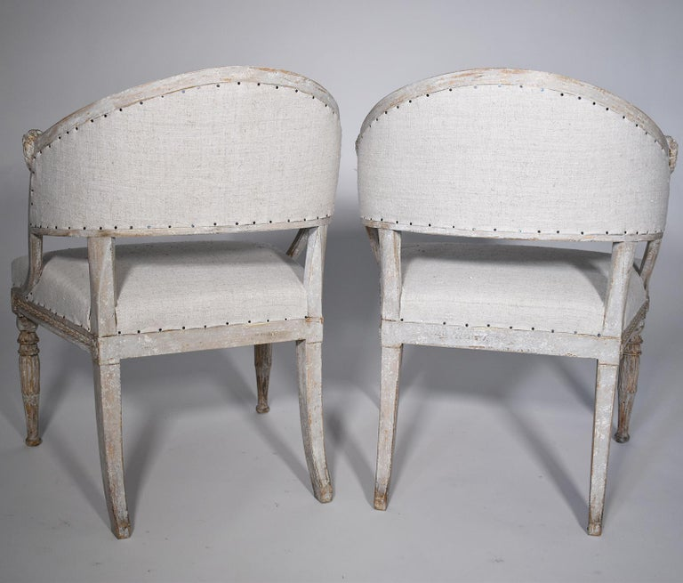 Hand-Carved Pair of 19th Century Swedish Barrel Back Chairs For Sale