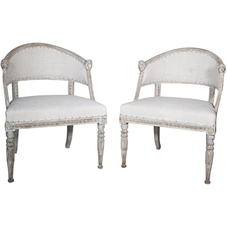 Pair of 19th Century Swedish Barrel Back Chairs For Sale