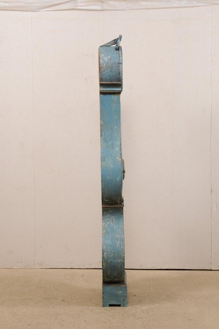 Swedish Beautiful Blue & Curvy-Shaped Fryksdahl Grandfather Clock, 19th Century For Sale 6