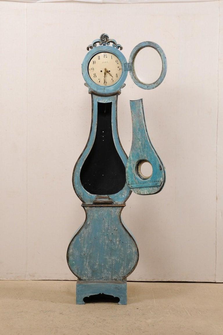 Swedish Beautiful Blue & Curvy-Shaped Fryksdahl Grandfather Clock, 19th Century For Sale 2