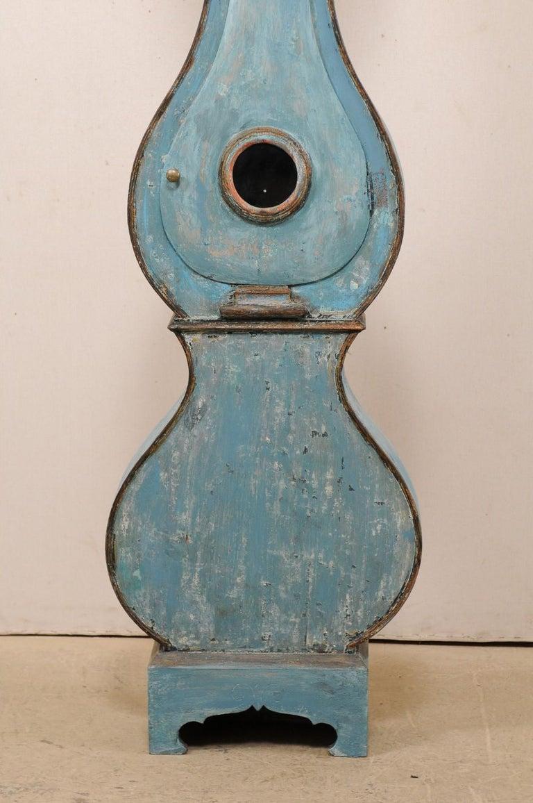 Swedish Beautiful Blue & Curvy-Shaped Fryksdahl Grandfather Clock, 19th Century For Sale 5