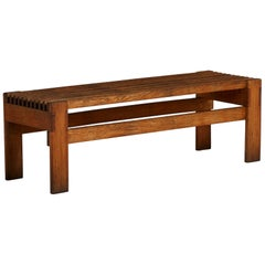Swedish Bench in Solid Oak, 1970s