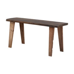 Swedish Rustic Wooden Bench in Solid Pine, 1800s