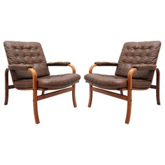 Swedish Bentwood Leather Chairs by Göte Möbler Nässjö, 1950