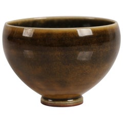 Swedish Berndt Friberg Small Ceramic Bowl with Green/Yellow Glaze, Midcentury