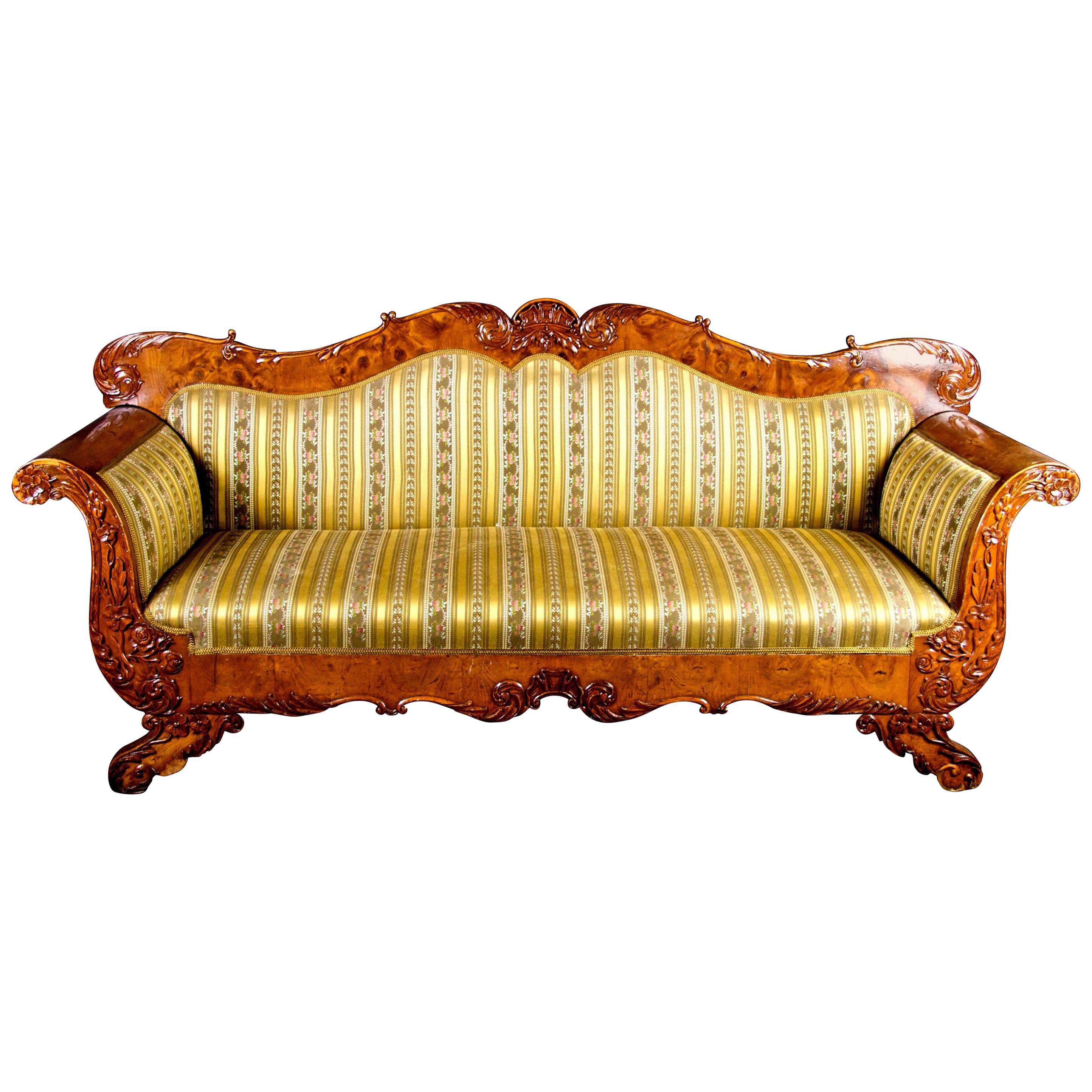 Swedish Biedermeier Carved Sofa Quilted Golden Birch 19th Century Antique