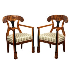 Swedish Biedermeier Dining Armchairs, Set of 2