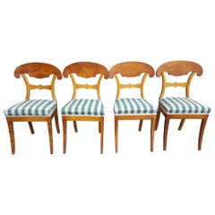 Swedish Biedermeier Dining Chairs 19th Century Golden Birch Honey Color Set of 4