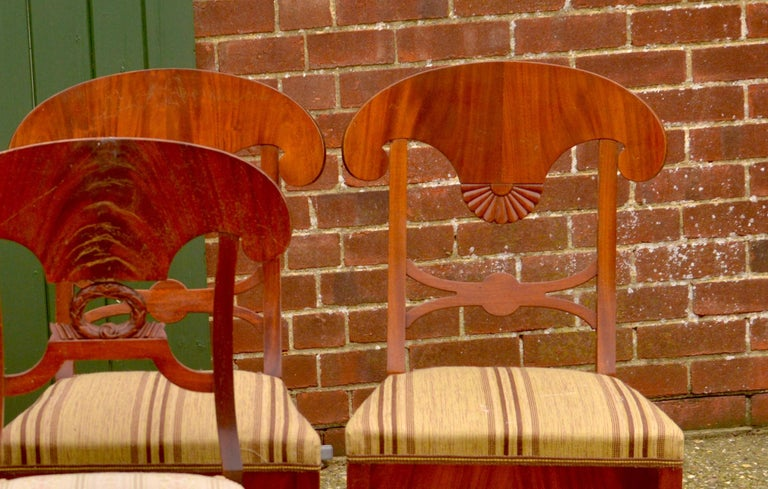 Polished Swedish Biedermeier Dining Chairs 19th Century Set of Six Mixed Wreath Mahogany For Sale